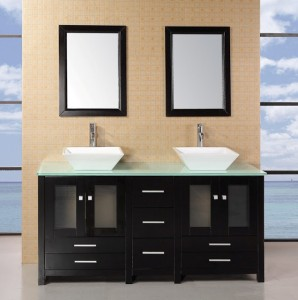 Bathroom Vanities Lowes Black VAnity Table White Wash Basin Two Mirrors Glass Surface Table