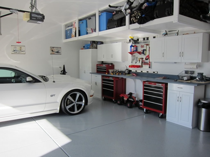 Dashing White Garage Floor Garage Storage System Organizations