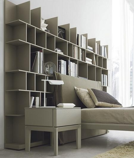 bookcase headboard idea