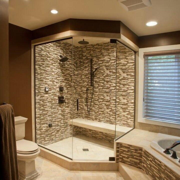 corner walk in shower design idea - Walk In Shower Design Ideas