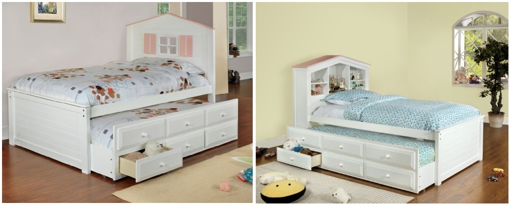 Furniture of America Blake Twin Captain Bed with Trundle and Drawer Set, White and Pink
