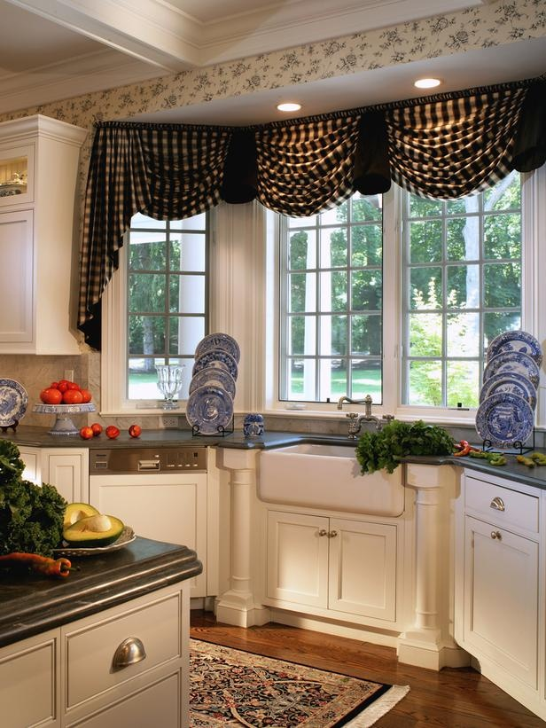 gingham swag valance kitchen window