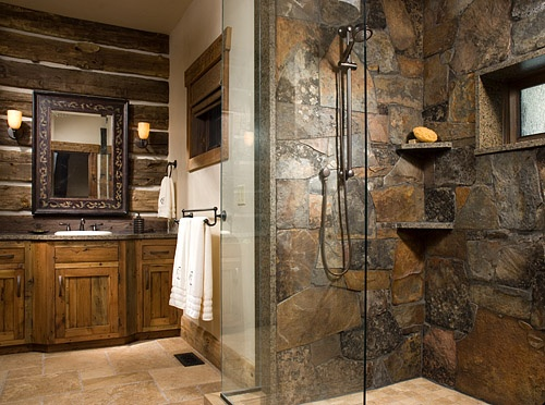 Jungle shower curtain - Rustic Walk In Shower Ideas Walk In Shower Designs And Things To