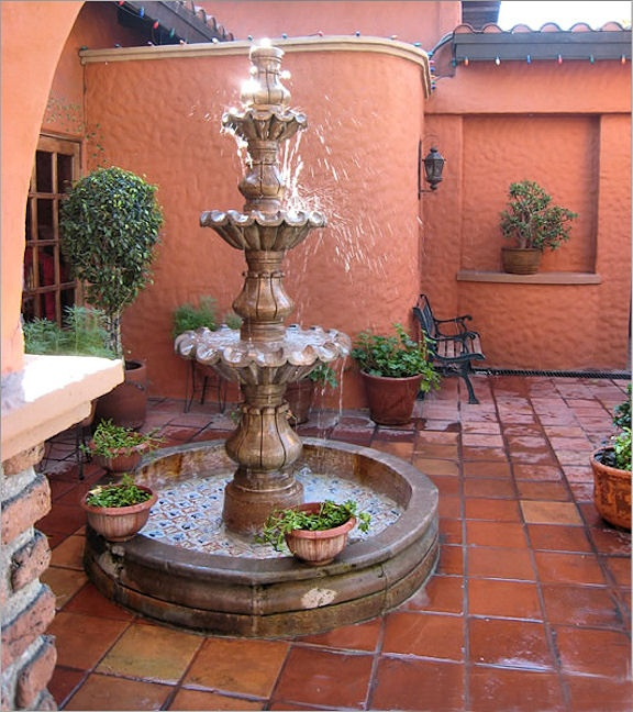 mexican satillo tile courtyard