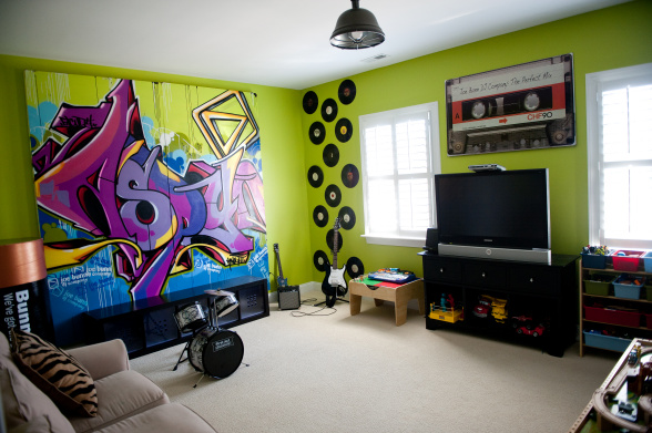 music themed playroom for older kids
