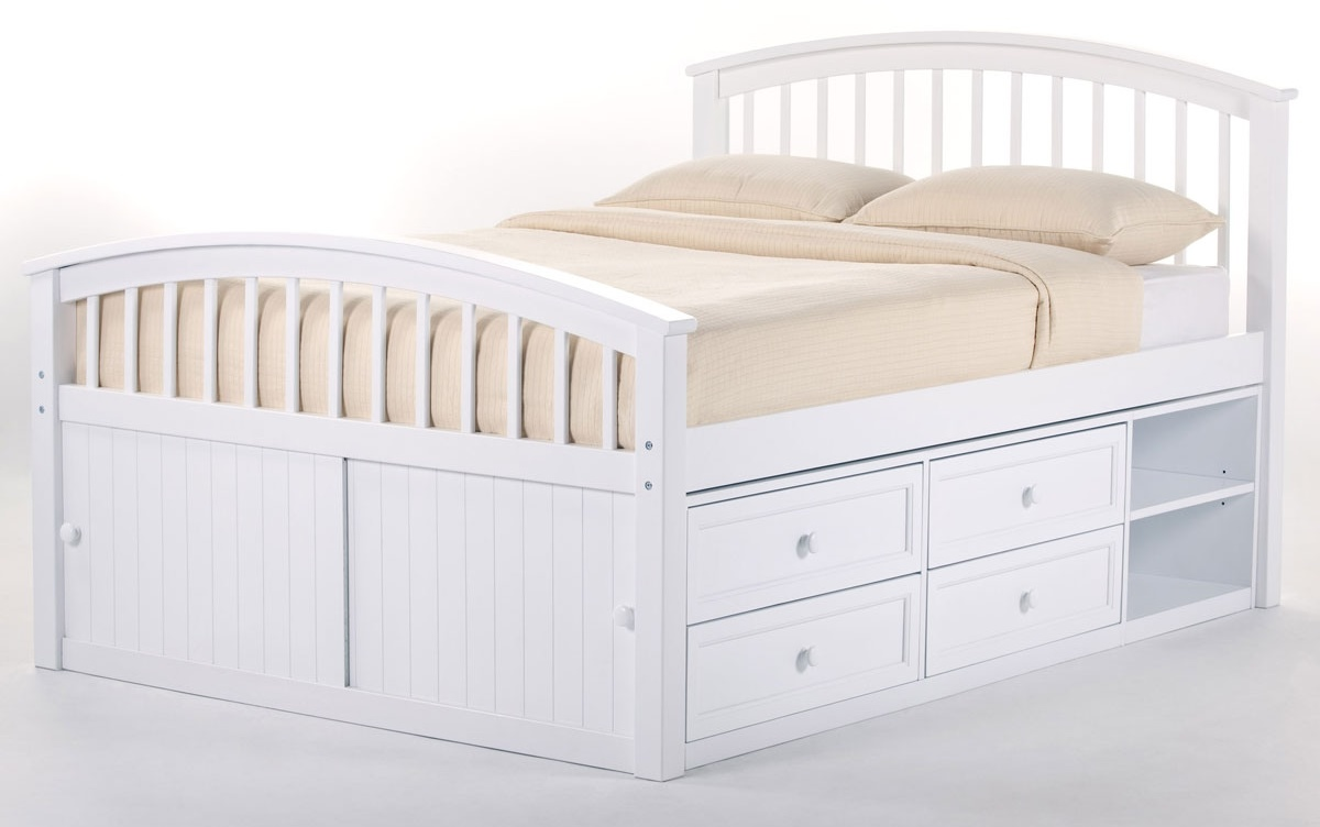 NE Kids School House Captain Bed in White (Twin)