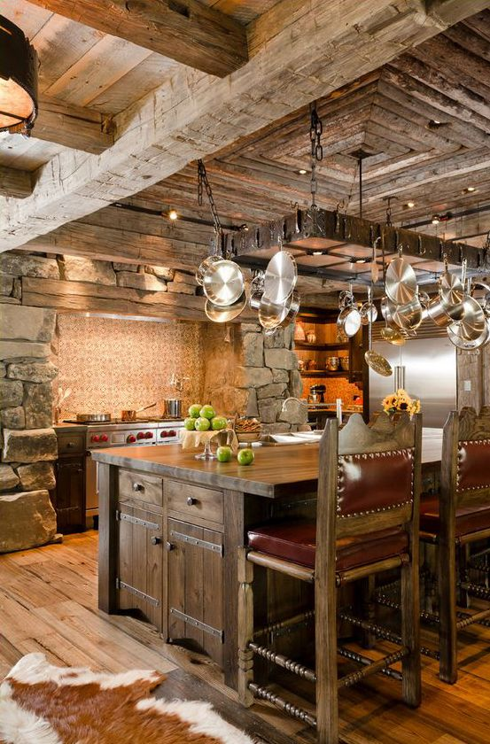 rustic kitchen with wooden ceiling