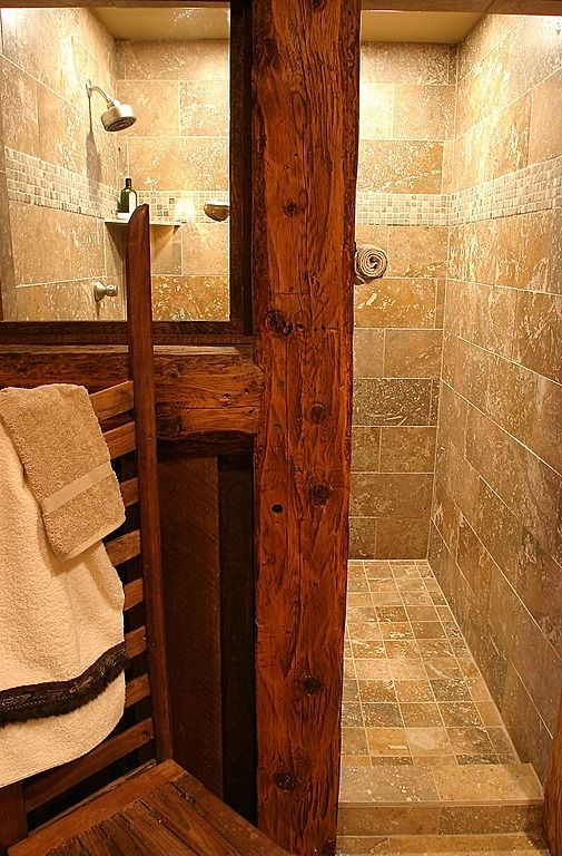 rustic doorless walk in showers